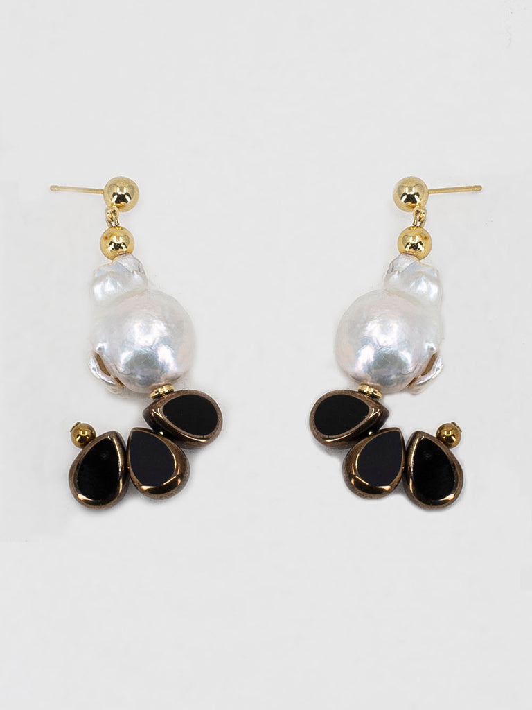 Scho - LANA black glass natural pearl earrings