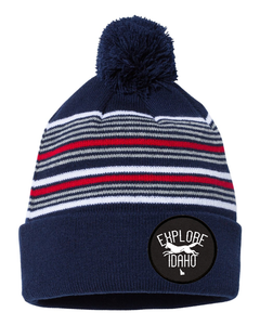 Beanie | Striped Pom Pom | Fox