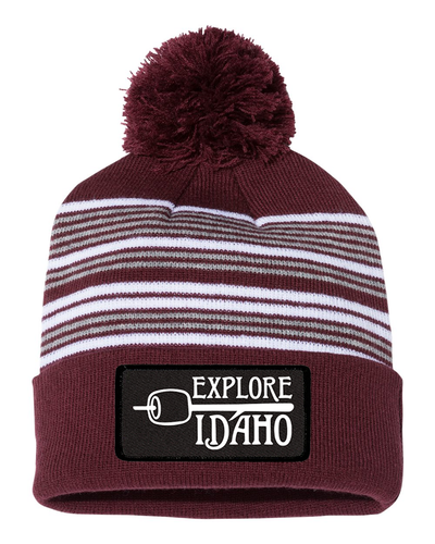 Beanie | Striped Pom Pom | Marshmallow