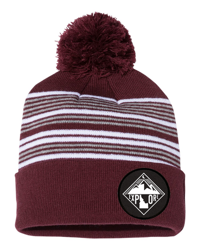 Beanie | Striped Pom Pom | Mountains