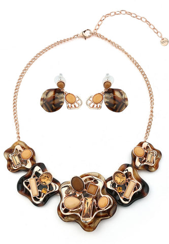 Coffee Patterned Necklace and Earring Fashion Jewelry Set Statement Jewelry