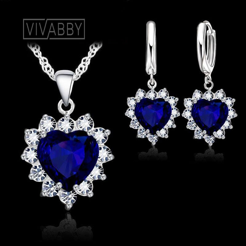 vivabby wedding jewelry set womens necklace hoop earring silver necklace blue bridal jewelry blue wedding jewelry set