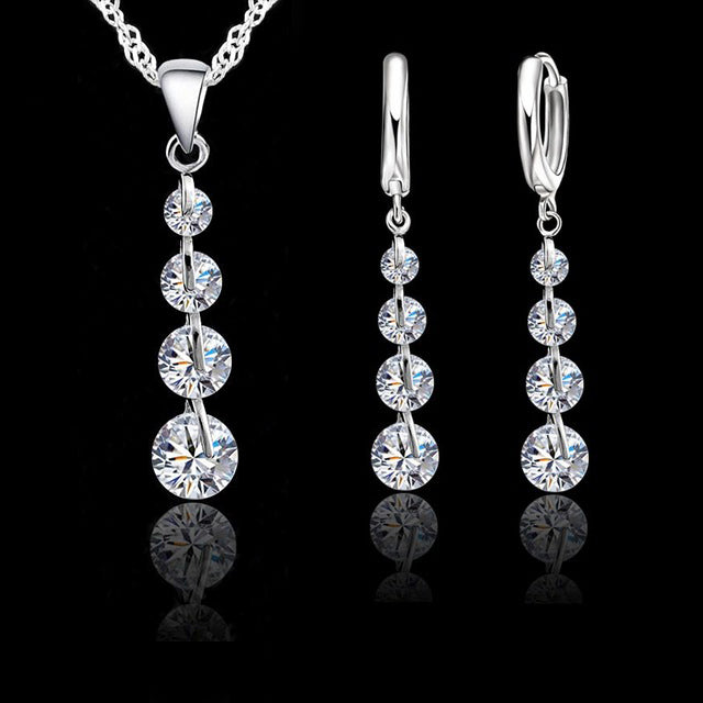 vivabby bridal jewelry set hoop earrings drop earrings pendant necklace silver necklace ladies necklaces