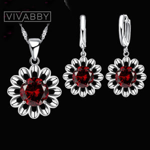 Alluring Cubic Zirconia Pendant Necklace and Hoop Earring Set