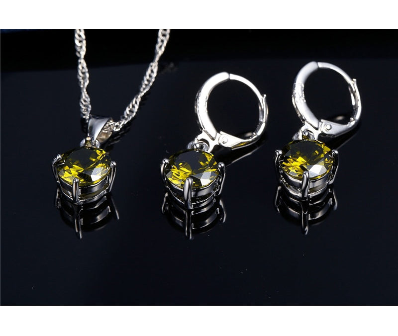 Round Crystal Pendant Necklace and Earrings Set