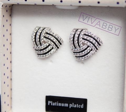 Striped Knot Stud Earrings Silver Earrings For Women Fashion Jewelry Accessories