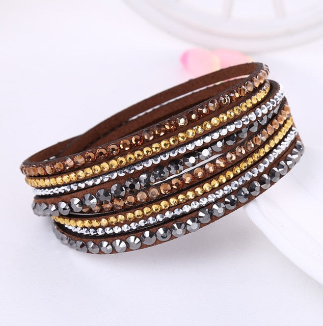 Vivabby Sparkly Leather Multi layer Bracelet