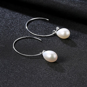 pearl drop earrings, dangling earrings, pearl earrings, sterling silver earrings, vivabby