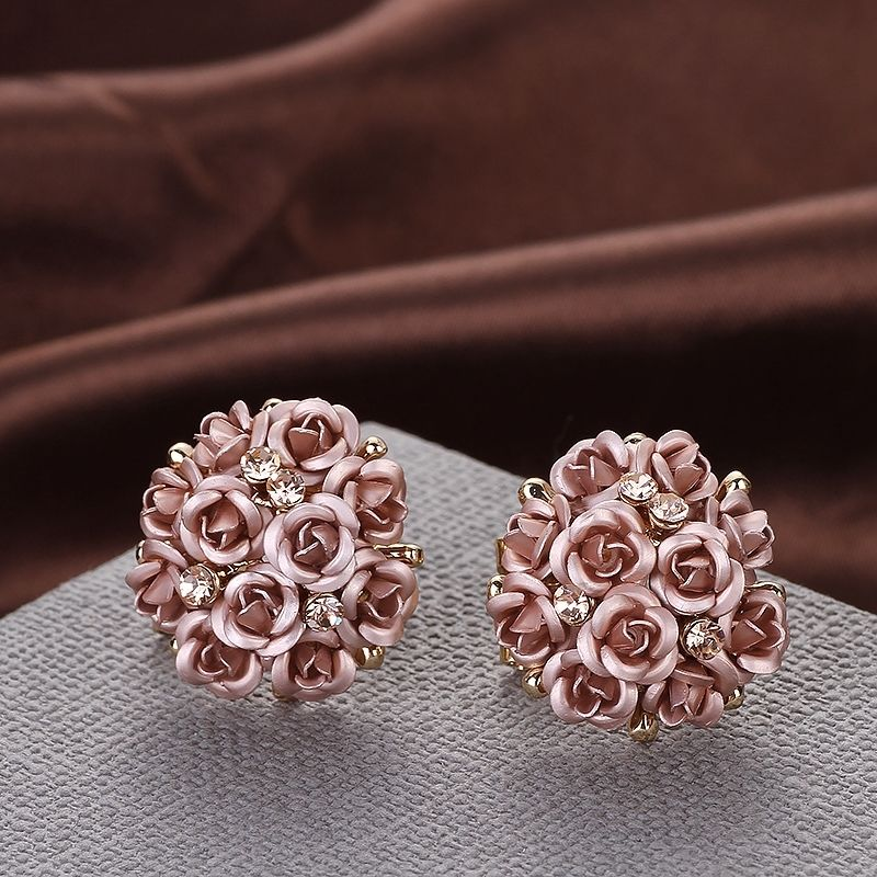 Rose Bouquet Gold Flower Rhinestone Stud Earrings For Women Jewelry Earring Set