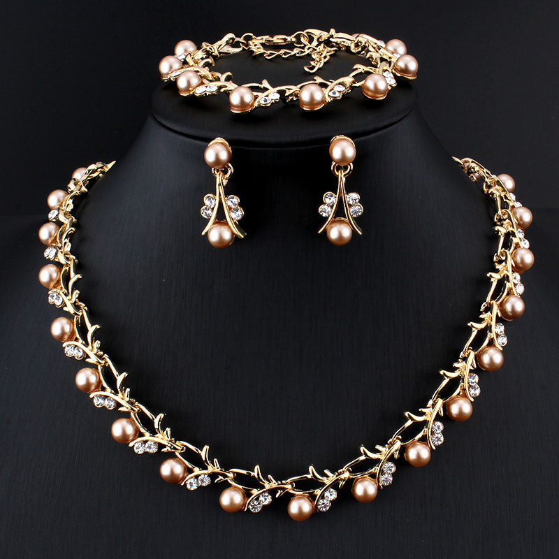 Vintage Gold Pearl Necklace Set
