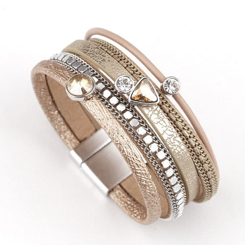 Vivabby Trendy Multilayer Crystal Leather Bracelet
