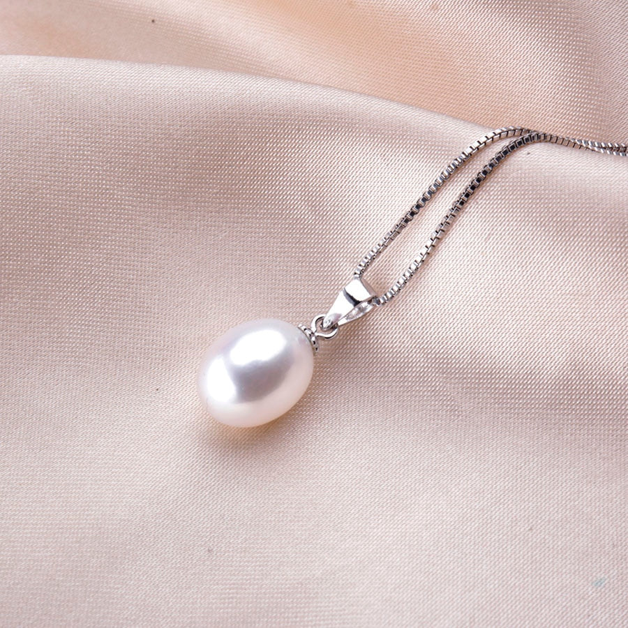 sterling silver and white natural freshwater pearl pendant necklace vivabby