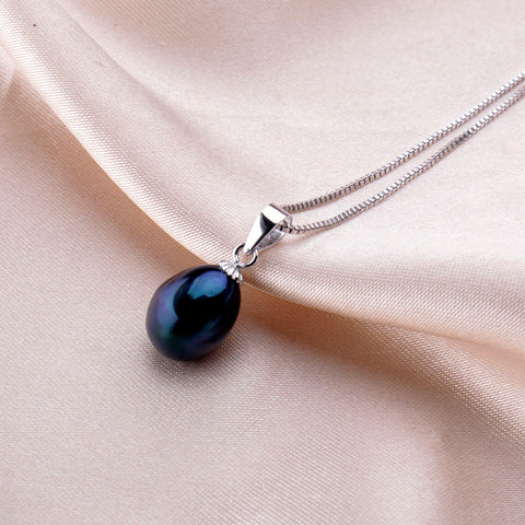 vivabby black freshwater pearl pendant and sterling silver necklace