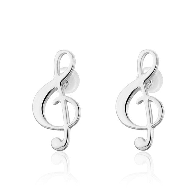vivabby music note studs earrings, silver stud earrings