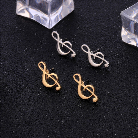 vivabby musical note gold stud earrings