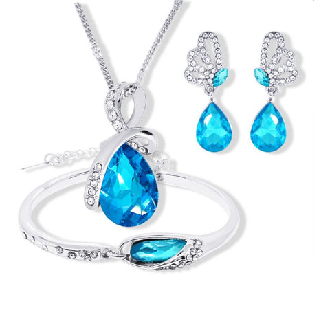 vivabby blue bridal jewelry wedding necklace and earring set wedding jewelry set bridal earrings
