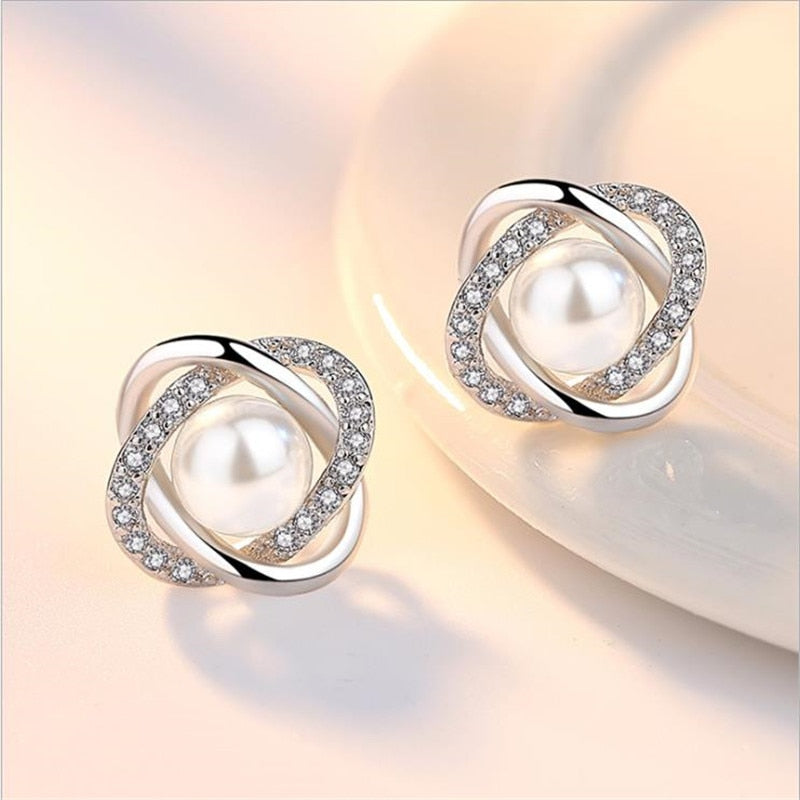 Sterling Silver Pearl and Crystal Stud Earrings For Women