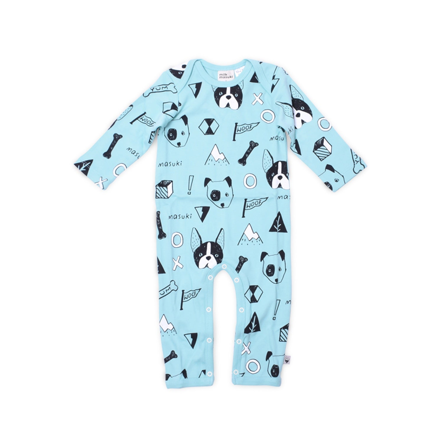 Milk & Masuki - Full Body Button All - Woof - Meterage / Size O / 6 - 12 Months