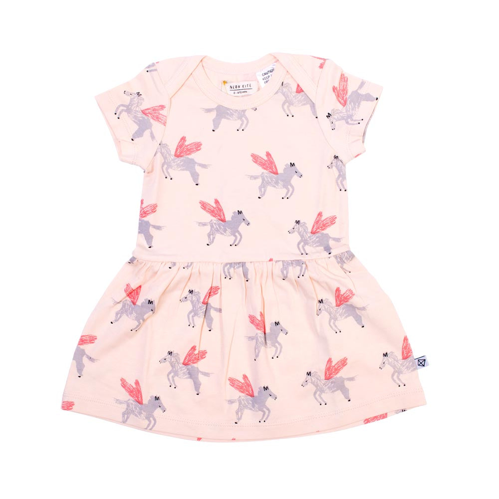 Neon Kite - Baby Dress - Pegasus / OO - 3 to 6 Months