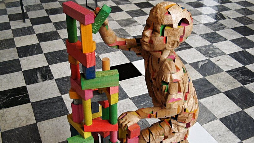 Wooden Sculpture of Science Genetics