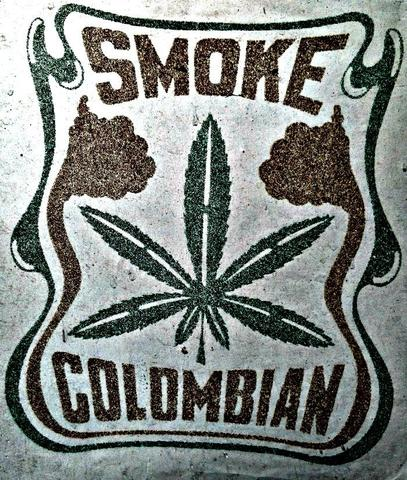Colombia marijuana smoking poster