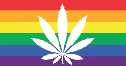Rainbow Flag with Cannabis leaf
