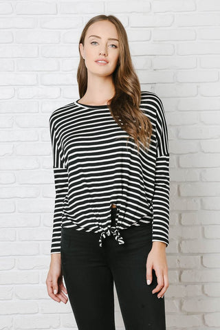 Black and White Striped Dolman Sleeve Top