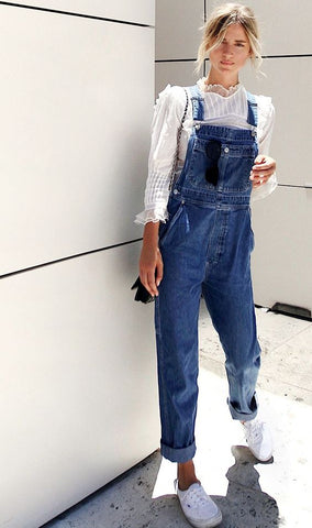 Lace Top Overalls Outfit