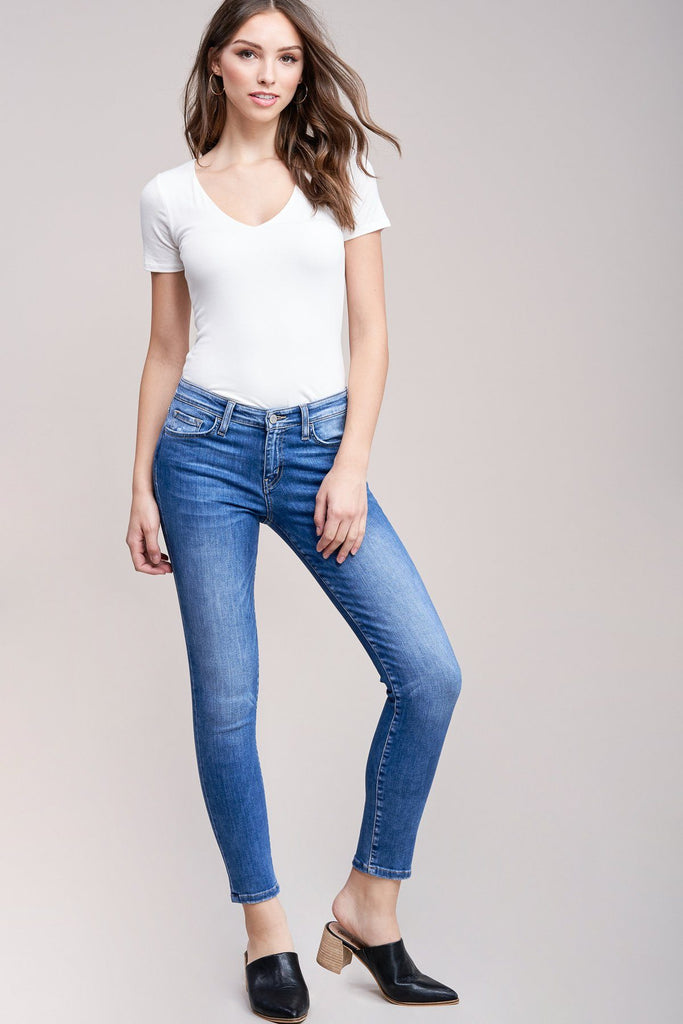 Faded Mid-Wash Skinny Jeans By Flying Monkey - No Rest For Bridget