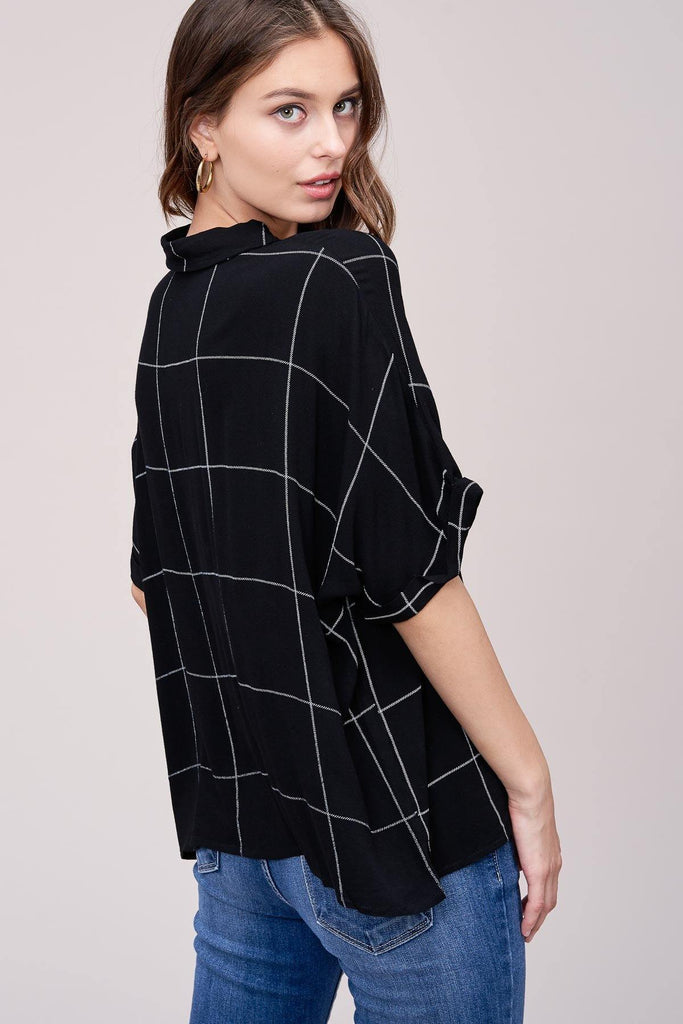 Black Windowpane Plaid Blouse by Arrays