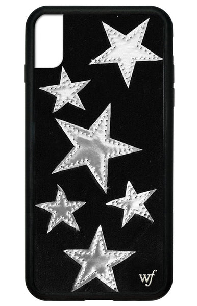 Black Velvet Silver Stars iPhone Xs Max Case