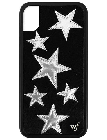 Black Velvet Silver Stars iPhone Xr Case