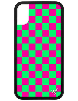 Checkers iPhone X/Xs Case | Neon Pink and Green