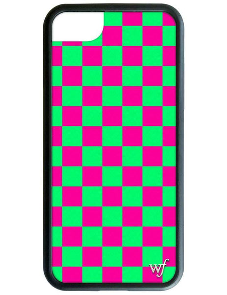 Neon Pink and Green Checkers iPhone SE/6/7/8 Case