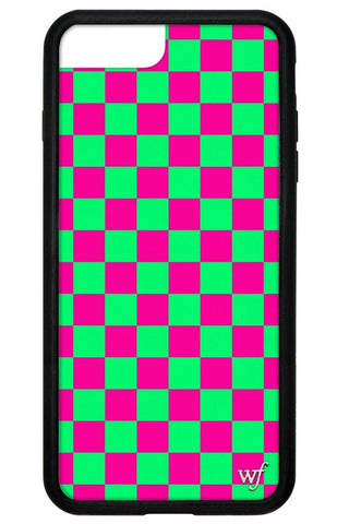 Neon Pink and Green Checkers iPhone 6+/7+/8+ Plus Case