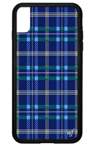 Navy Plaid iPhone Xs Max Case