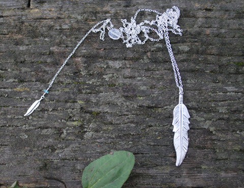 Crystal Moonstone Feather Necklace, Jewellery, Sun Moon Nation, Shannon Ross, Vancouver