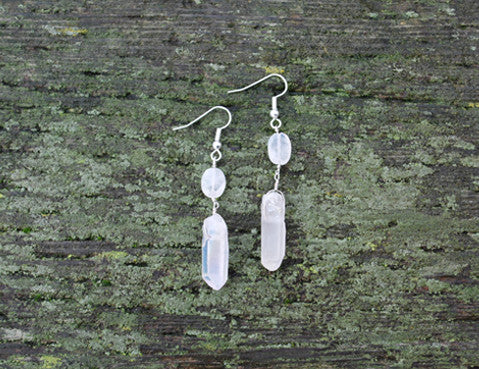 Crystal Moonstone Earrings, Jewellery, Sun Moon Nation, Shannon Ross, Vancouver