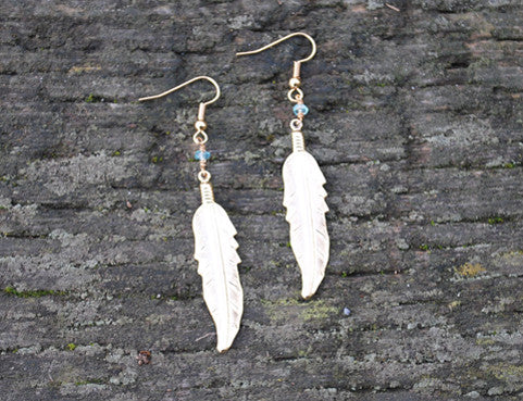 Apatite Aquamarine Moonstone Feather Earrings, Jewellery, Sun Moon Nation, Shannon Ross, Vancouver
