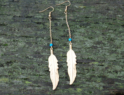 Turquoise Feather Earrings, Jewellery, Sun Moon Nation, Shannon Ross, Vancouver