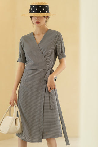 V-Neck Dress With Tie