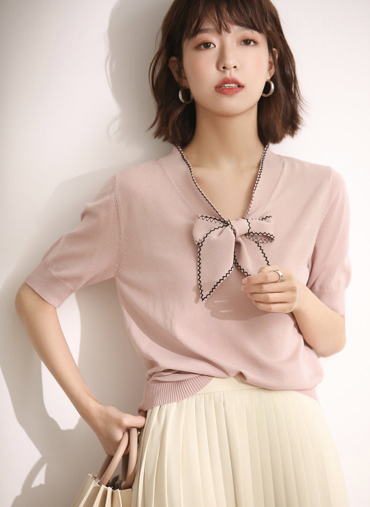 Knit Top With Ribbon - PNM CLOTHING