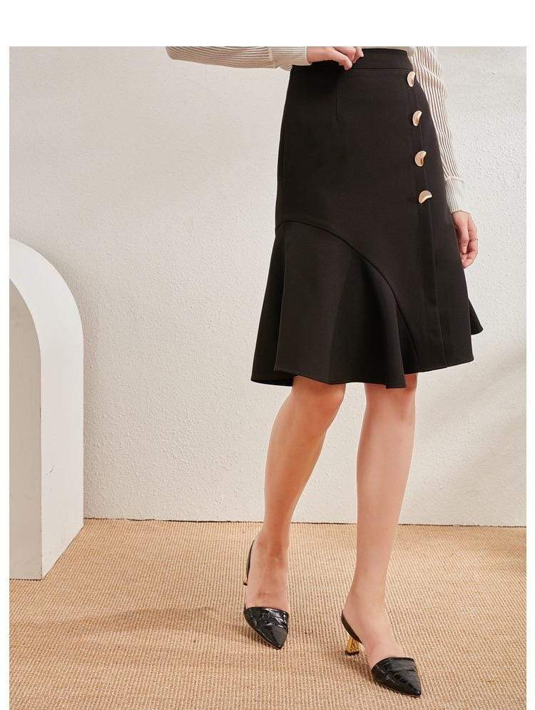 PNM bottoms Mid-Rise Midi Skirt With Button Front