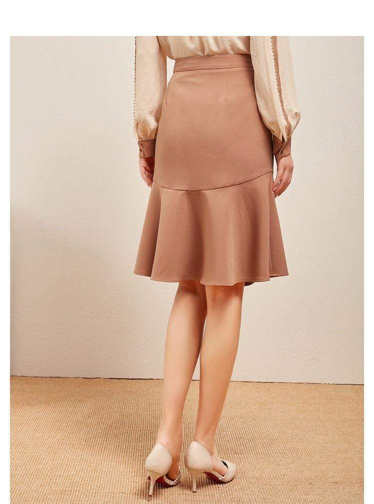 PNM bottoms S / Apricot Mid-Rise Midi Skirt With Button Front
