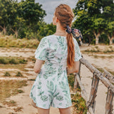 PNM CLOTHING Bottoms & 1 piece Sleeved Printed Romper With Button Front