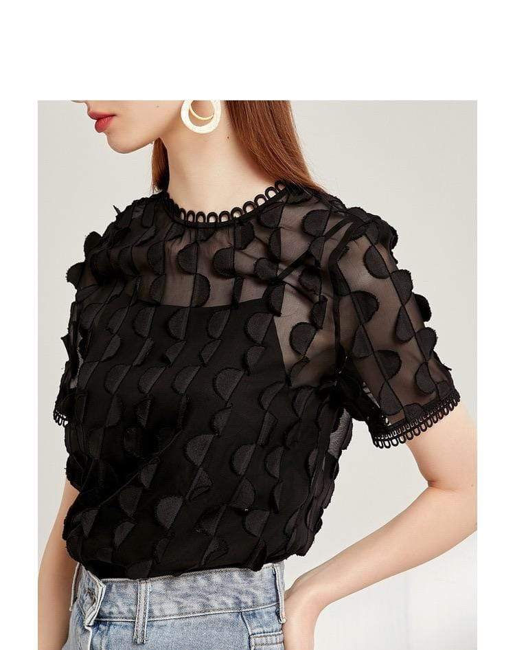 PNM CLOTHING TOP Blouse With Ruffles Embroidery