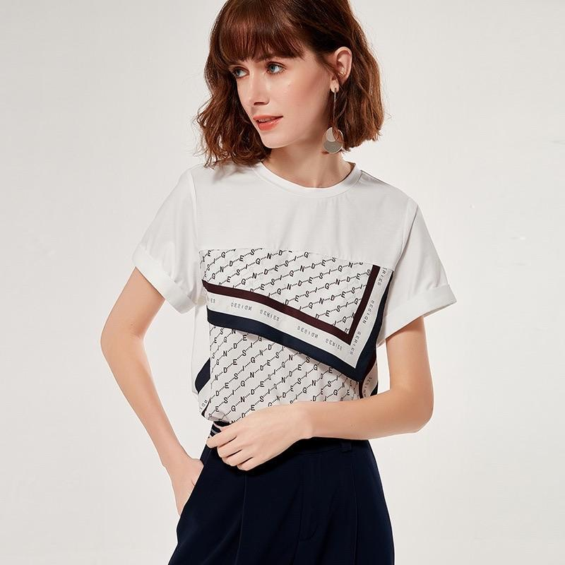 PNM ClOTHING TOP M / White Printed Sleeved Relaxed T-Shirt
