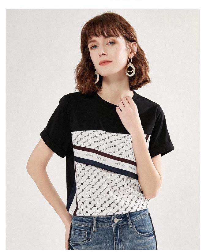 PNM ClOTHING TOP Printed Sleeved Relaxed T-Shirt