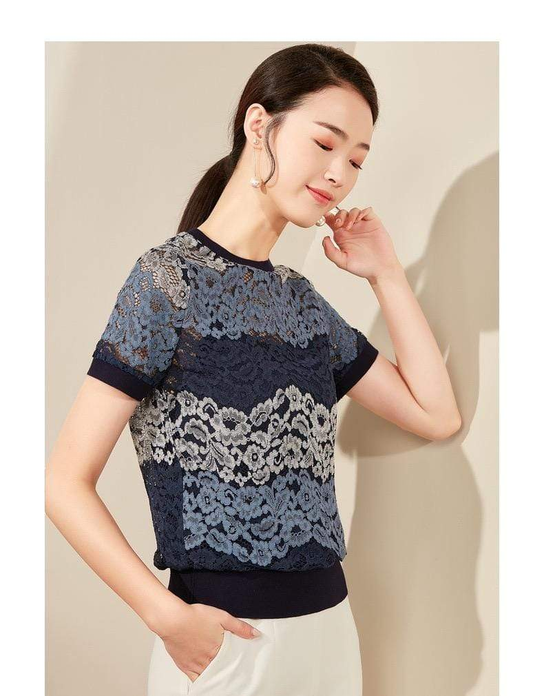 PNM ClOTHING TOP Round-Neck Lace-Trimmed Top