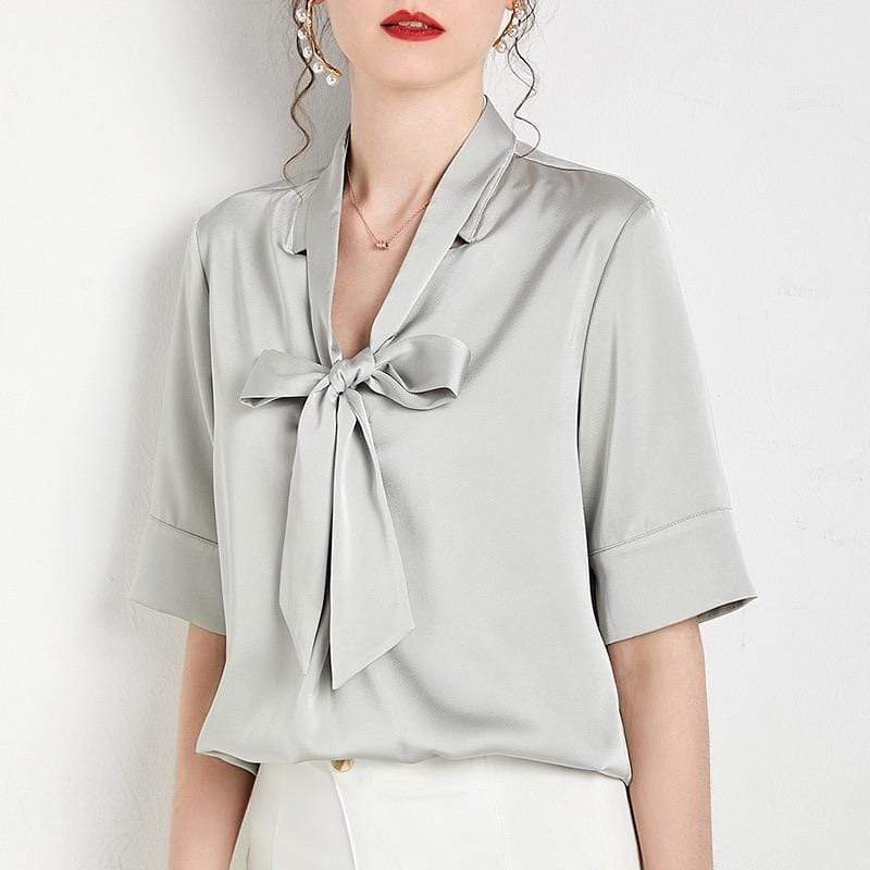 PNM ClOTHING TOP Sleeved Blouse With Tie front